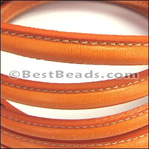 MINI Regaliz® Leather Oval STITCHED ORANGE - per 10m SPOOL