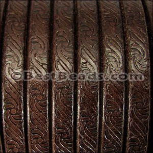 Regaliz® EMBOSSED Leather BROWN - per 10m SPOOL