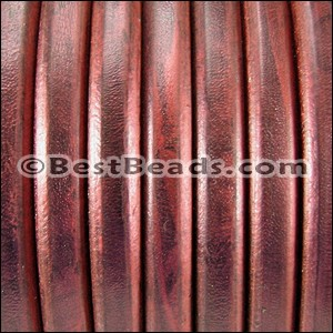 Regaliz® Leather Oval METALLIC BURGUNDY  - per 25m SPOOL