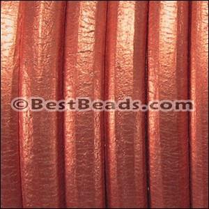 Regaliz® Leather Oval METALLIC CORAL - per 1 meter