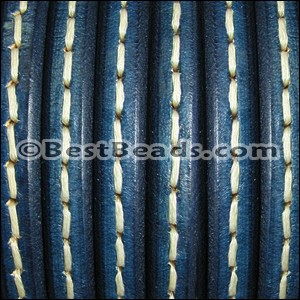 Regaliz® Leather Oval STITCHED BLUE - per 1 meter
