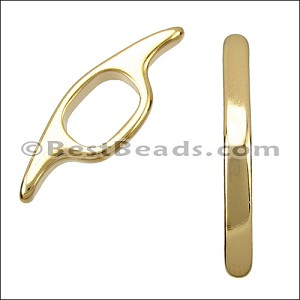 Regaliz® LONG CURVED BAR spacer SHINY GOLD - per 10 pieces