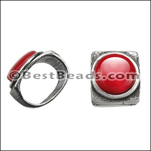 Regaliz® RED RESIN spacer ANT. SILVER - per 10 pieces