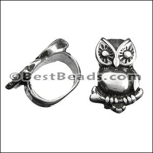 Regaliz® SMALL OWL spacer ANT. SILVER - per 10 pieces