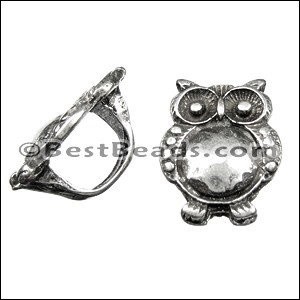Regaliz® LARGE OWL spacer ANT. SILVER - per 10 pieces