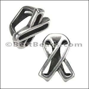 Regaliz® OPEN AWARENESS RIBBON spacer ANT. SILVER - per 10 pieces