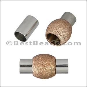 5mm round STAINLESS STEEL magnetic clasp STYLE 1 - ROSE GOLD - per 10 clasps