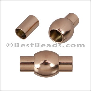 5mm round STAINLESS STEEL magnetic clasp STYLE 4 - ROSE GOLD - per 10 clasps