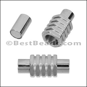 5mm round STAINLESS STEEL magnetic clasp STYLE 6 - SILVER - per 10 clasps