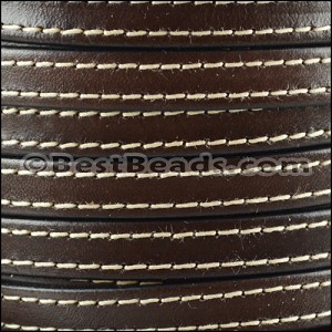 10mm flat STITCHED leather CHOCOLATE BROWN - per 2 meters