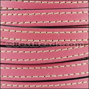 10mm flat STITCHED leather BUBBLEGUM PINK - per 20m SPOOL