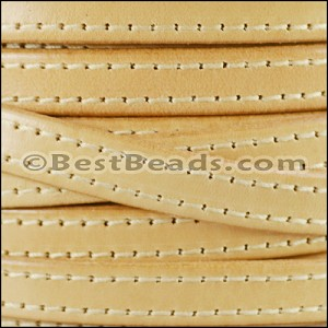 10mm flat STITCHED leather NATURAL - per 2 meters