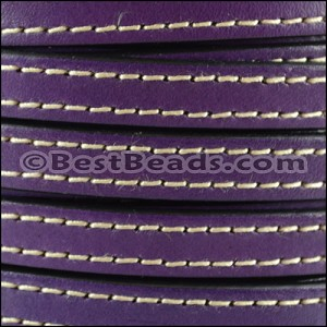 10mm flat STITCHED leather DEEP PURPLE - per 2 meters