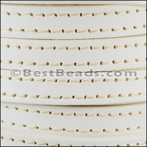10mm flat STITCHED leather WHITE - per 2 meters