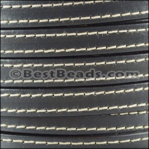 10mm flat STITCHED leather GREY - per 2 meters