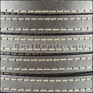 10mm flat STITCHED leather METALLIC GUNMETAL - per 2 meters