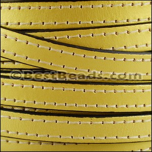 10mm flat STITCHED leather METALLIC GOLD - per 2 meters