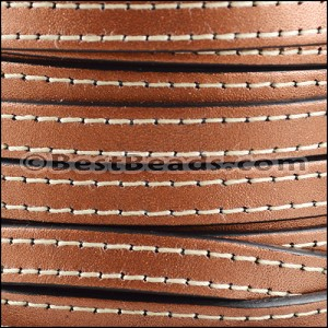 10mm flat STITCHED leather METALLIC ANT. COPPER - per 2 meters
