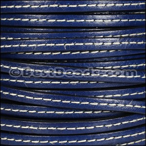 5mm flat STITCHED leather ELECTRIC BLUE - per 20m SPOOL