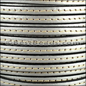 5mm flat STITCHED leather METALLIC ANT. SILVER - per 5 meters