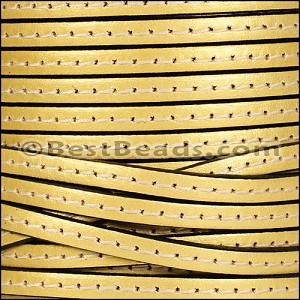 5mm flat STITCHED leather METALLIC GOLD - per 5 meters
