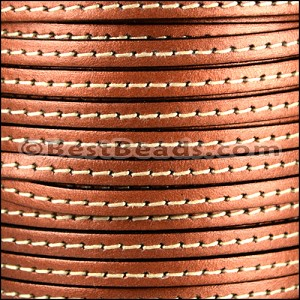5mm flat STITCHED leather METALLIC ANT. COPPER - per 20m SPOOL