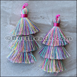 70mm TRIPLE TASSEL : MULTI - per 2 pieces