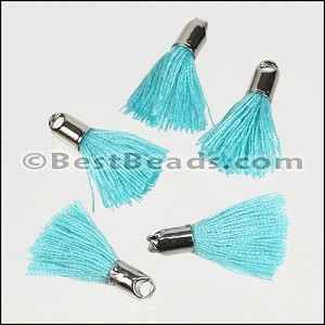 18mm SILVER : BABY BLUE Tassel - per 10 pieces