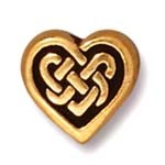 celtic heart bead ANTIQUE GOLD tone