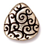 briolette scroll bead ANTIQUE SILVER