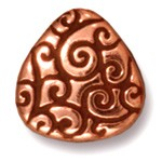 briolette scroll bead ANTIQUE COPPER
