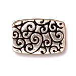 rectangle scroll bead ANTIQUE SILVER