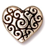 heart scroll bead ANTIQUE SILVER
