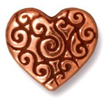 heart scroll bead ANTIQUE COPPER tone