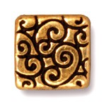 square scroll bead ANTIQUE GOLD