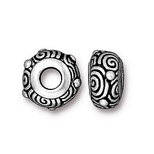 spiral euro bead ANTIQUE SILVER