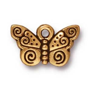 spiral butterfly charm ANTIQUE GOLD