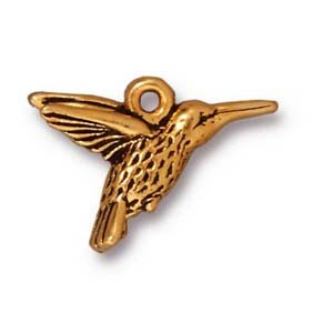 hummingbird charm ANTIQUE GOLD