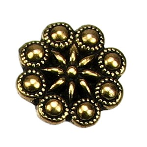 Czech Rosette BUTTON ANTIQUE GOLD
