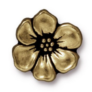 apple blossom BUTTON BRASS OXIDE