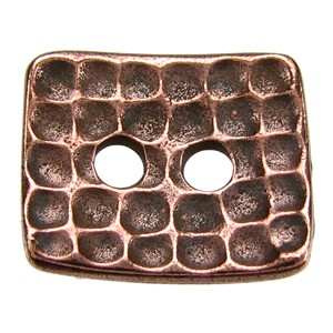Rectangle Hammertone BUTTON ANT COPPER tone