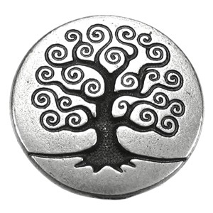 Tree of Life BUTTON ANT SILVER tone
