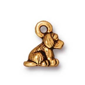 dog charm ANTIQUE GOLD