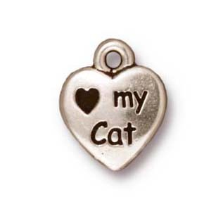 love my cat charm ANTIQUE SILVER