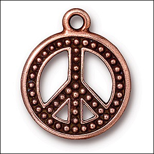 beaded peace charm ANTIQUE COPPER