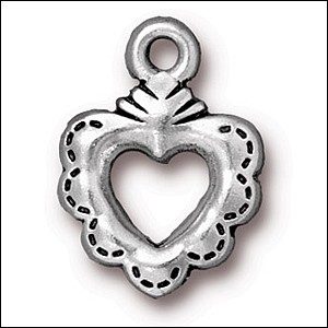 sacred heart ring charm ANTIQUE SILVER