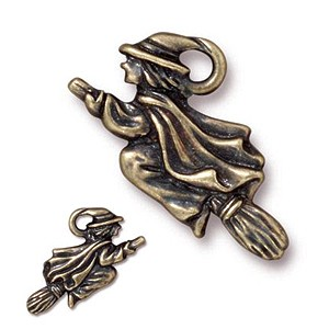 WITCH charm BRASS OXIDE