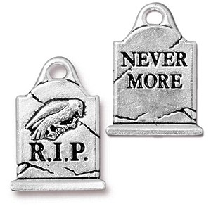 GRAVE S charm ANTIQUE SILVER
