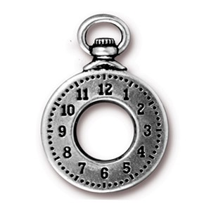 clock charm ANTIQUE SILVER