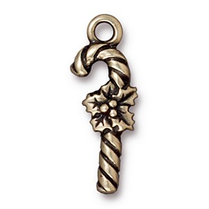candy cane charm BRASS OXIDE